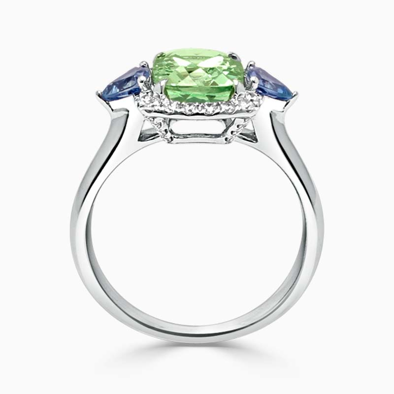 18ct White Gold Cushion Cut Green Garnet & Aquamarine Ring