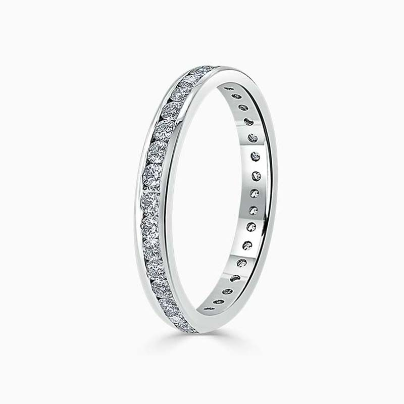18ct White Gold 2.25mm Round Brilliant Channel Set Full Eternity Ring