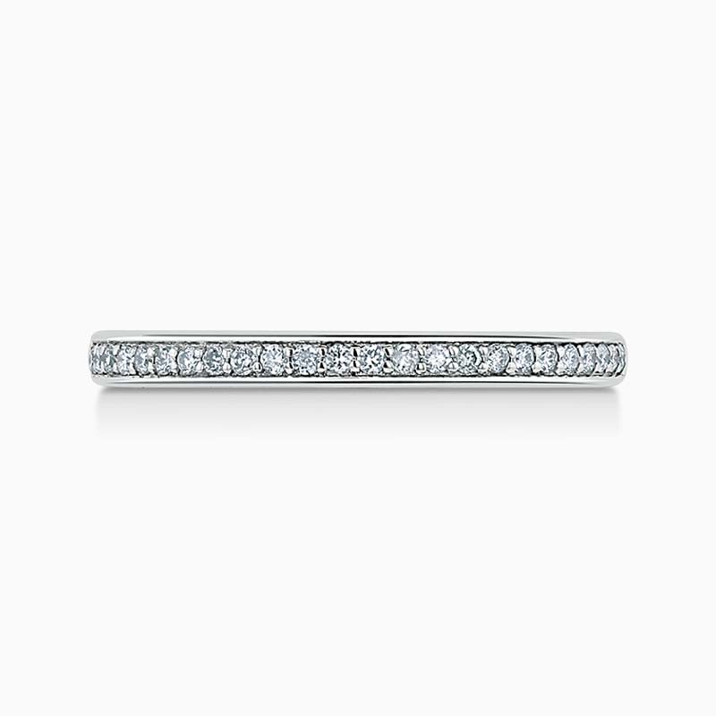 Platinum 2.00mm Round Brilliant Pavé Set Half Eternity Ring