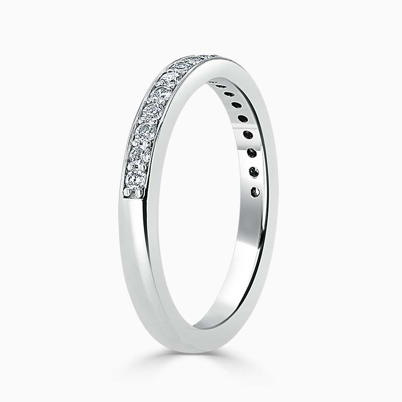 18ct White Gold 2.50mm Round Brilliant Pavé Set Half Eternity Ring