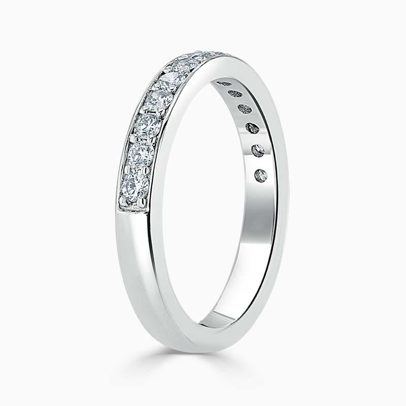 18ct White Gold 3.00mm Round Brilliant Pavé Set Half Eternity Ring