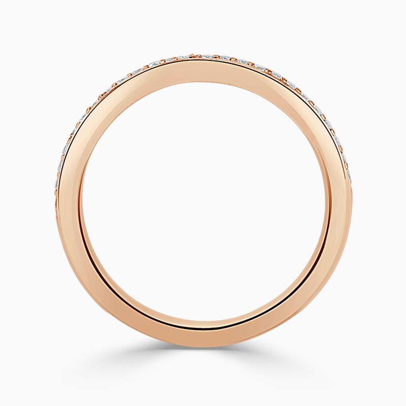 18ct Rose Gold 2.00mm Round Brilliant Pavé Set Half Eternity Ring