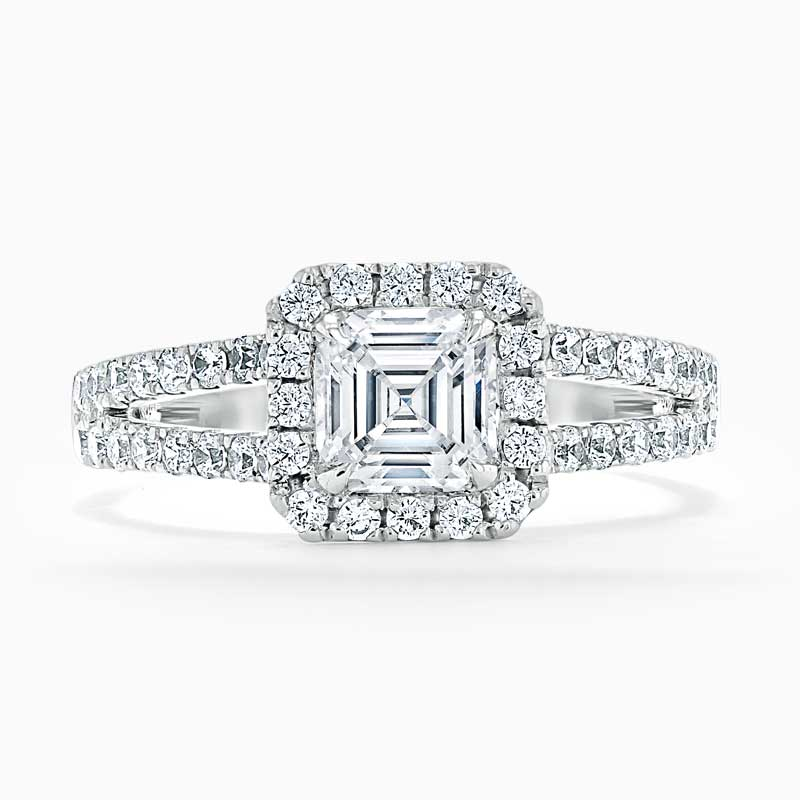 18ct White Gold Asscher Cut Split Shoulder Halo Engagement Ring