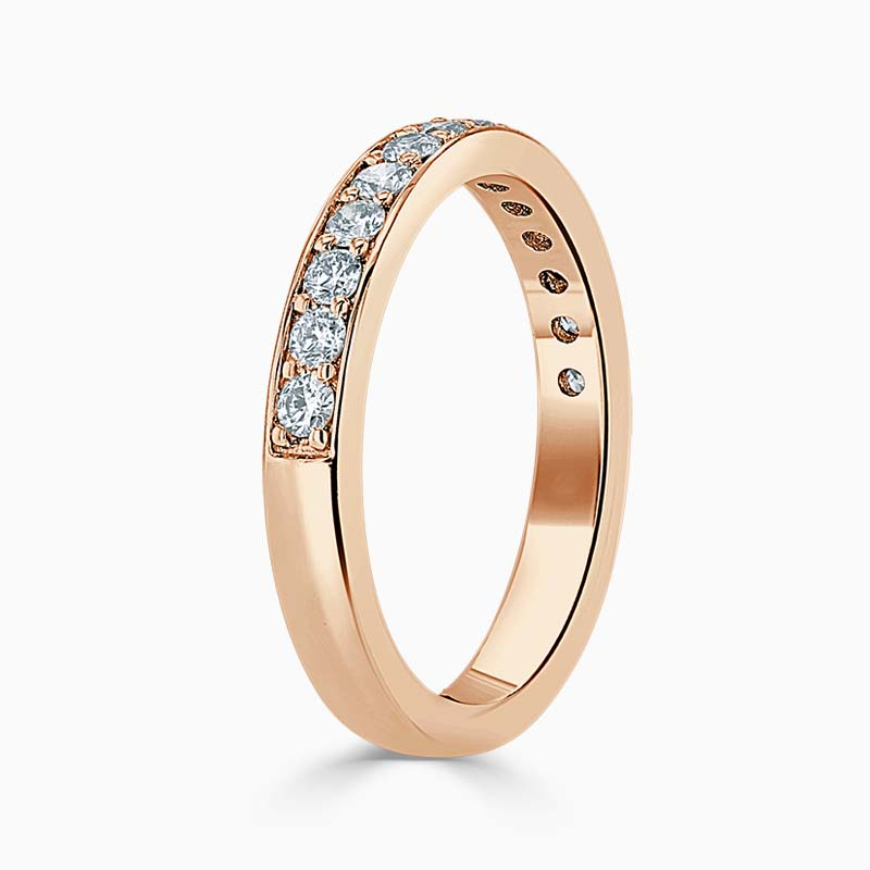18ct Rose Gold 3.00mm Round Brilliant Pavé Set Half Eternity Ring