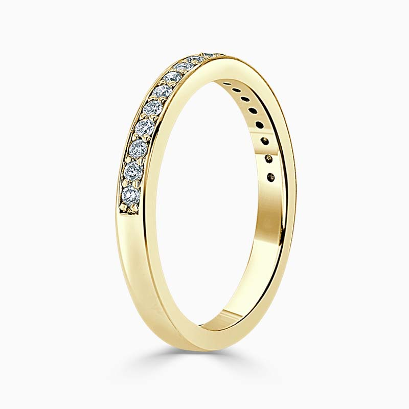 18ct Yellow Gold 2.25mm Round Brilliant Pavé Set Half Eternity Ring