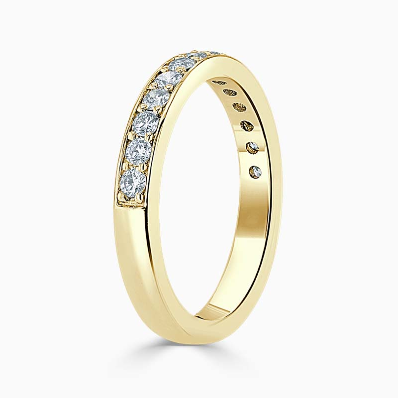 18ct Yellow Gold 3.00mm Round Brilliant Pavé Set Half Eternity Ring