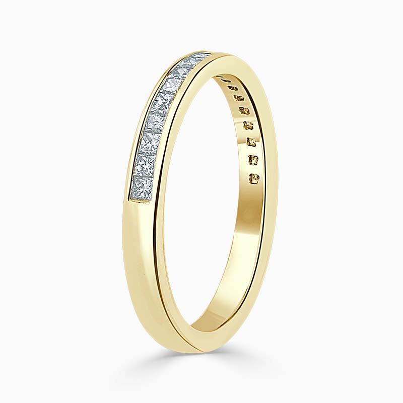 18ct Yellow Gold 2.50mm Princess Cut Channel Set Half Eternity Ring