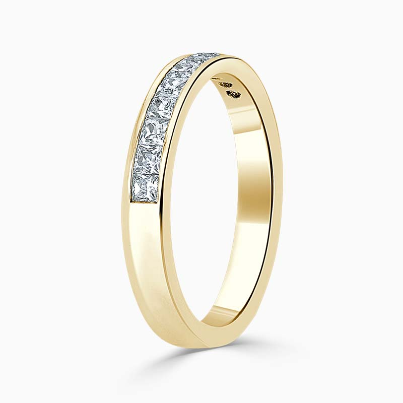 18ct Yellow Gold 3.50mm Princess Cut Channel Set Half Eternity Ring
