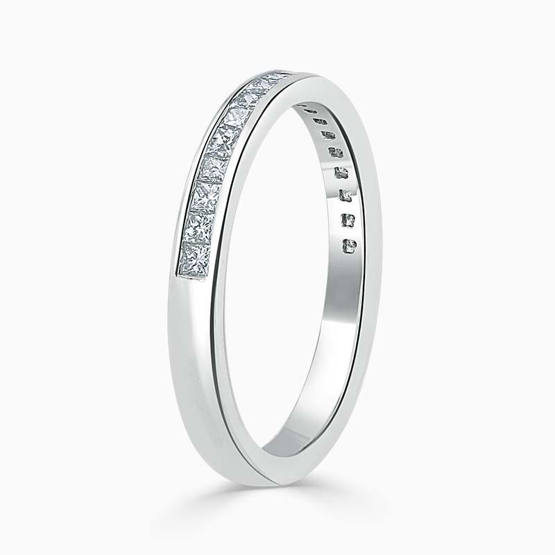 Platinum 2.50mm Princess Cut Channel Set Half Eternity Ring