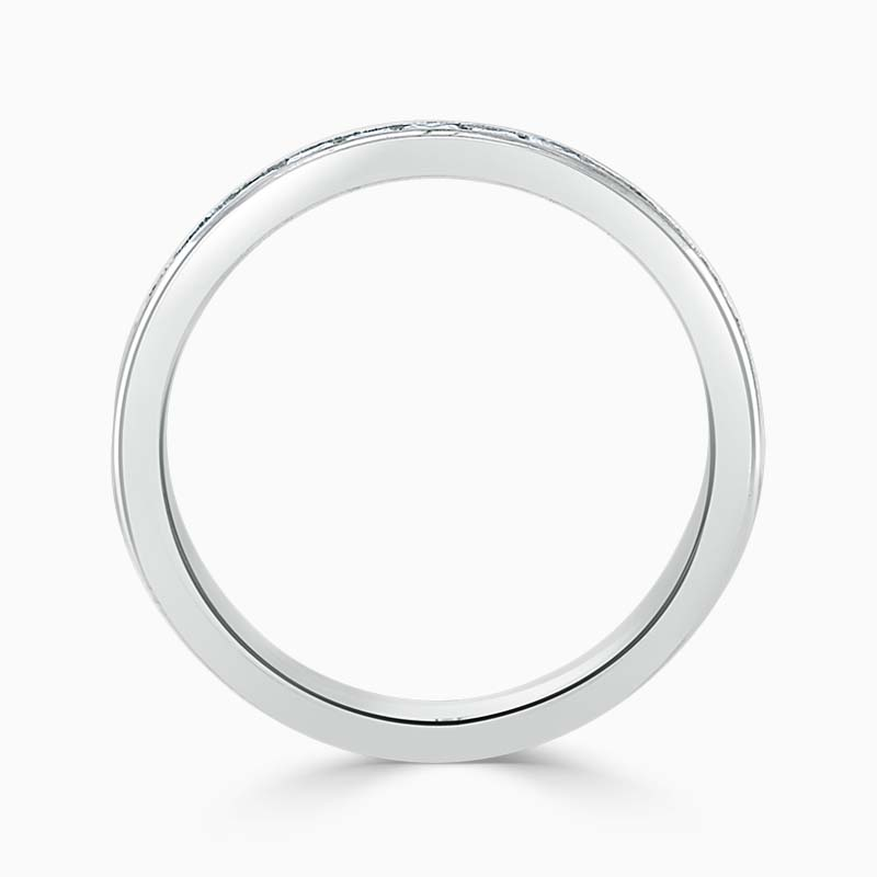 Platinum 3.00mm Princess Cut Channel Set Half Eternity Ring