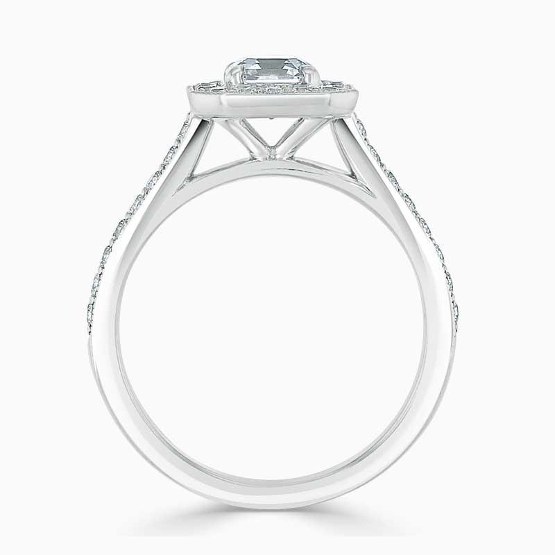 18ct White Gold Asscher Cut Vintage Pavé Halo Engagement Ring