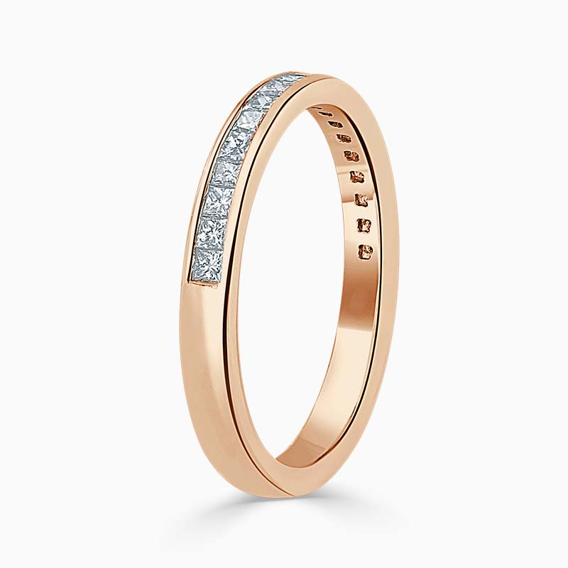 18ct Rose Gold 2.50mm Princess Cut Channel Set Half Eternity Ring