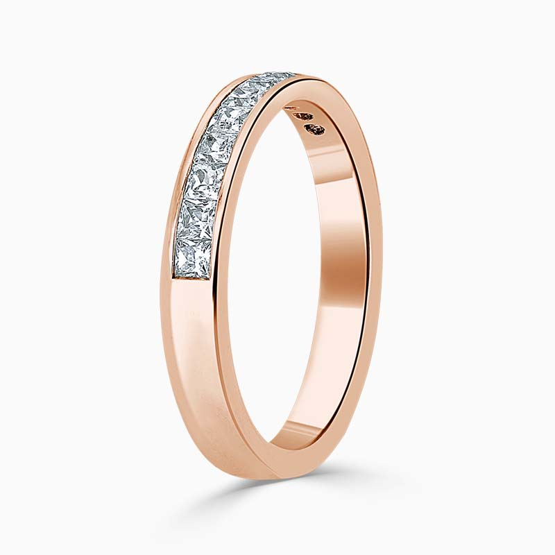 18ct Rose Gold 3.50mm Princess Cut Channel Set Half Eternity Ring