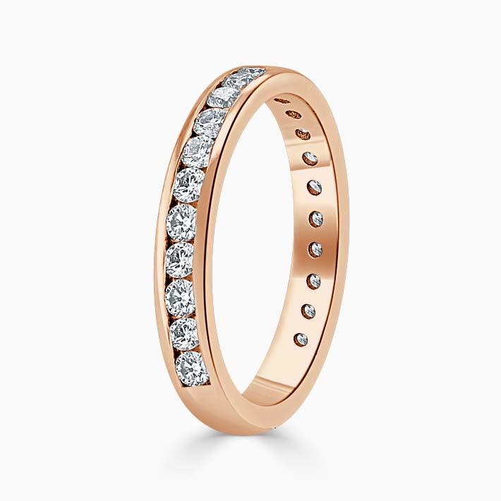 18ct Rose Gold 3.00mm Round Brilliant Channel Set Three Quarter Eternity Ring