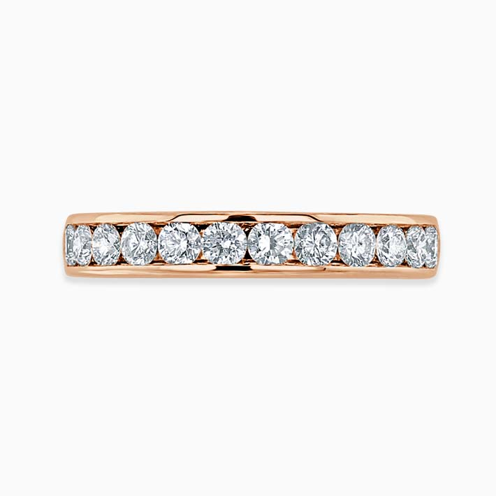 18ct Rose Gold 3.50mm Round Brilliant Channel Set Three Quarter Eternity Ring