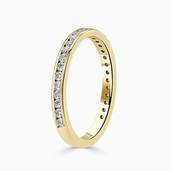 18ct Yellow Gold 2.25mm Round Brilliant Channel Set Three Quarter Eternity Ring