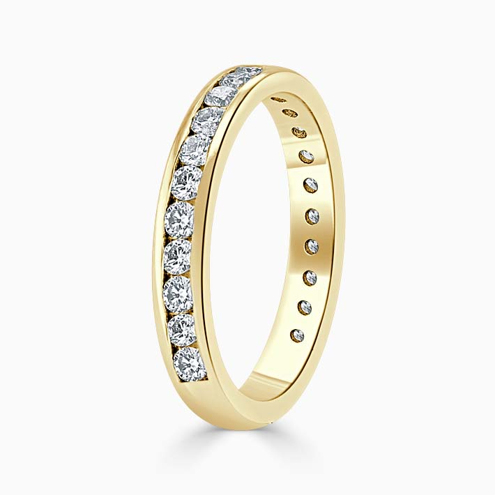 18ct Yellow Gold 3.00mm Round Brilliant Channel Set Three Quarter Eternity Ring