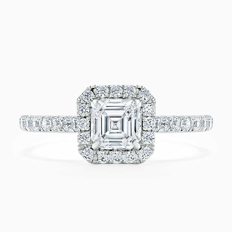 Platinum Asscher Cut Classic Wedfit Halo Engagement Ring