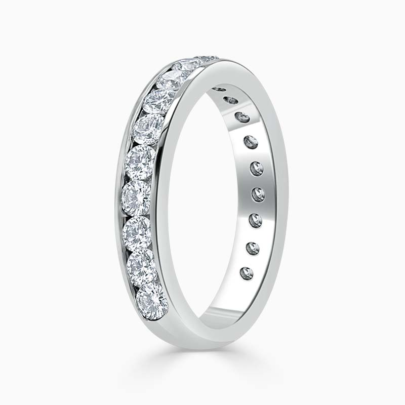 Platinum 3.50mm Round Brilliant Channel Set Three Quarter Eternity Ring
