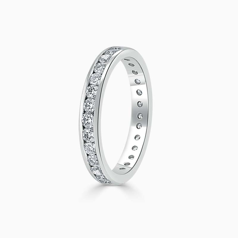 18ct White Gold 3.00mm Round Brilliant Channel Set Full Eternity Ring