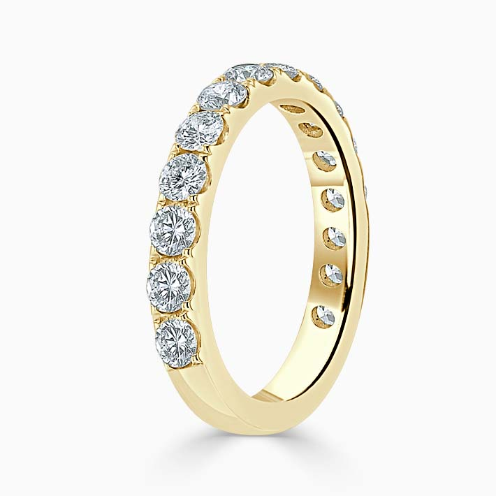 18ct Yellow Gold 3.00mm Round Brilliant Cutdown Set Three Quarter Eternity Ring