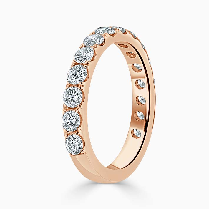 18ct Rose Gold 3.00mm Round Brilliant Cutdown Set Three Quarter Eternity Ring