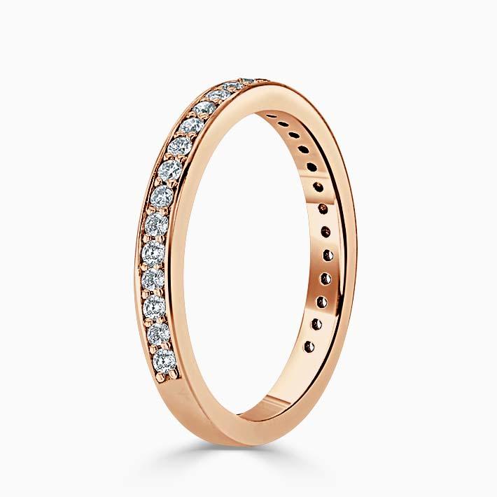 18ct Rose Gold 2.25mm Round Brilliant Pavé Set Three Quarter Eternity Ring