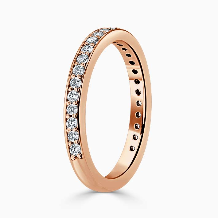 18ct Rose Gold 2.50mm Round Brilliant Pavé Set Three Quarter Eternity Ring