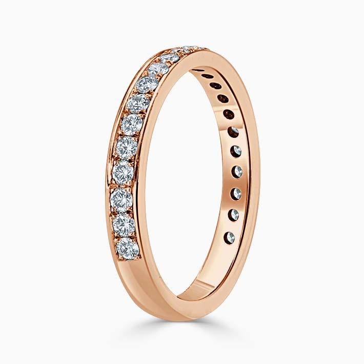 18ct Rose Gold 2.75mm Round Brilliant Pavé Set Three Quarter Eternity Ring
