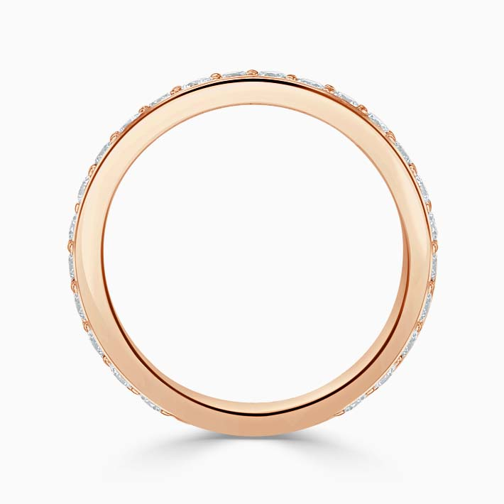 18ct Rose Gold 3.00mm Round Brilliant Pavé Set Three Quarter Eternity Ring