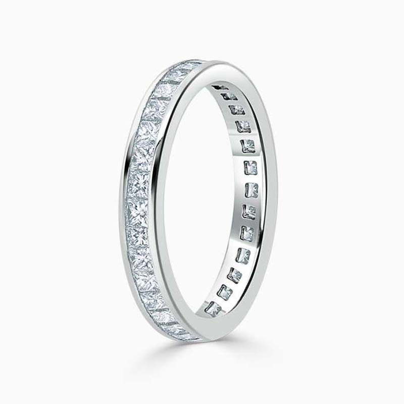 18ct White Gold 3.00mm Princess Cut Channel Set Full Eternity Ring