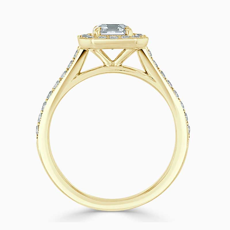 18ct Yellow Gold Asscher Cut Vintage Pavé Halo Engagement Ring