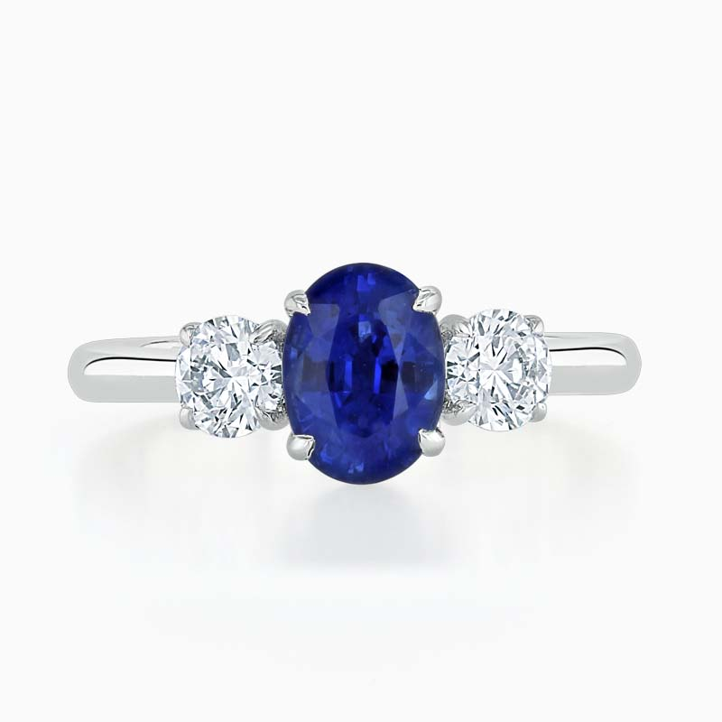 Platinum 950 Oval Sapphire & Diamond Three Stone Ring