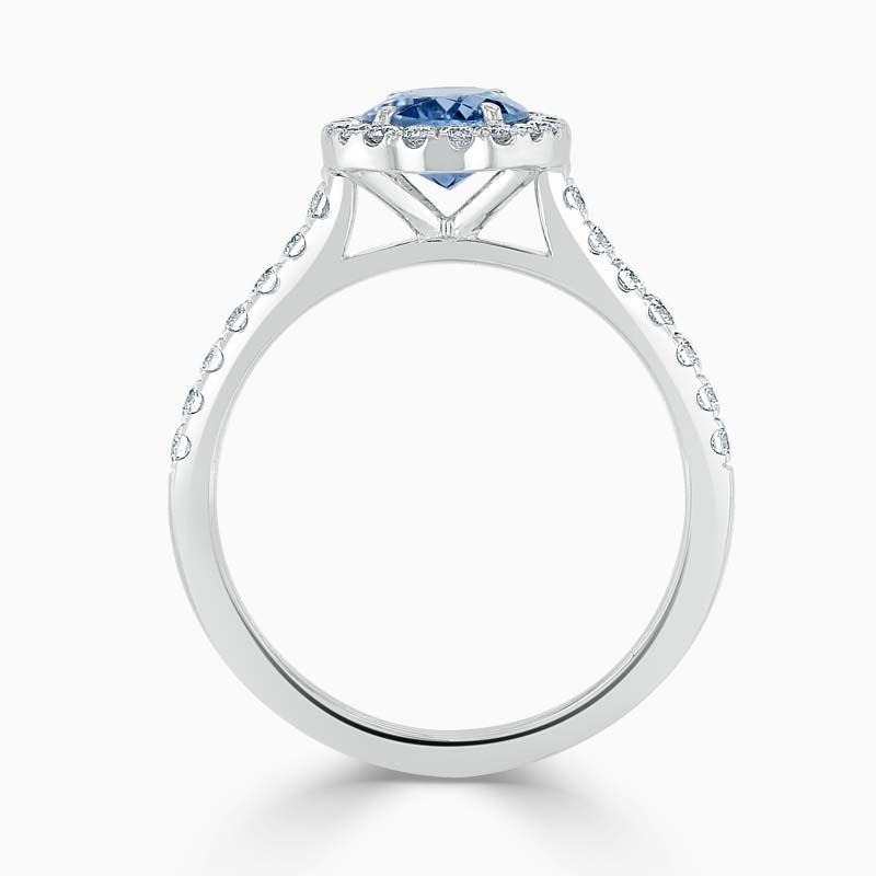 18ct White Gold Oval Aquamarine & Diamond Halo Ring