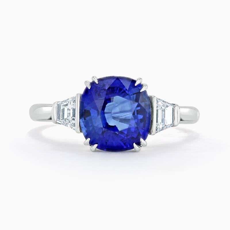 Platinum 950 Platinum Cushion Cut Sapphire & Diamond Ring (3.22ct)