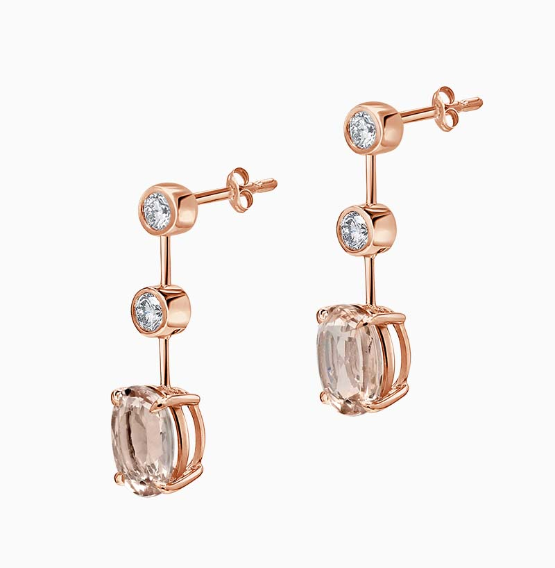 18ct Rose Gold Oval Morganite & Diamond Drop Earrings