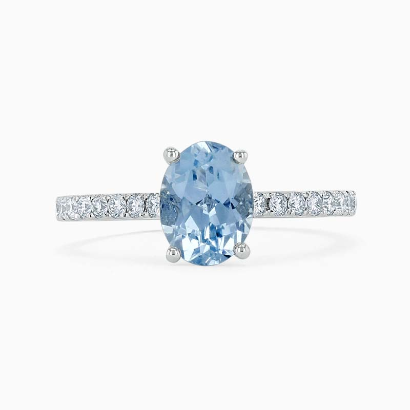18ct White Gold Oval Shape Aquamarine & Diamond Cutdown Set Shoulder Ring