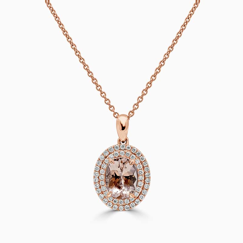 18ct Rose Gold Oval Morganite & Diamond Double Halo Pendant
