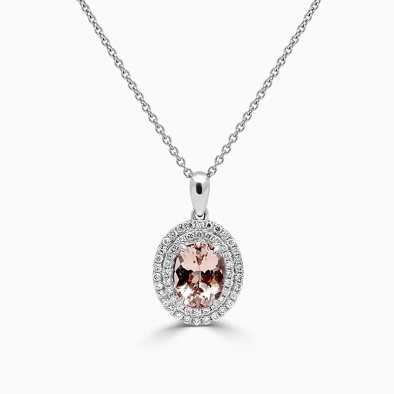 18ct White Gold Oval Morganite & Diamond Double Halo Pendant