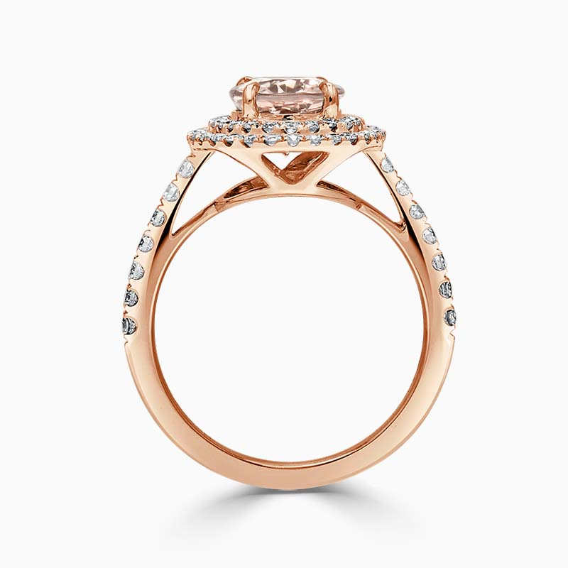 18ct Rose Gold Oval Morganite & Diamond Double Halo Ring
