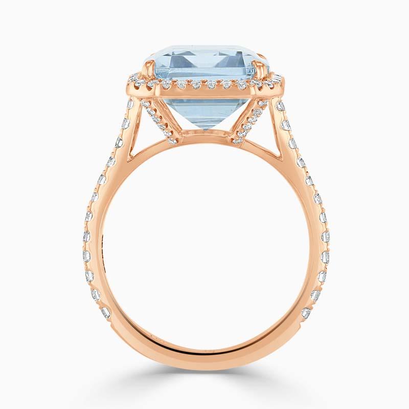 18ct Rose Gold Emerald Cut Blue Topaz & Diamond Halo Ring