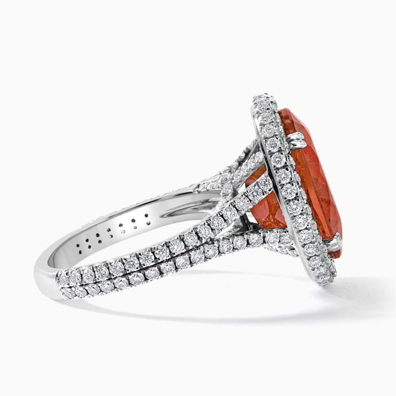 18ct White Gold Oval Spessartite and Diamond Statement Halo Ring