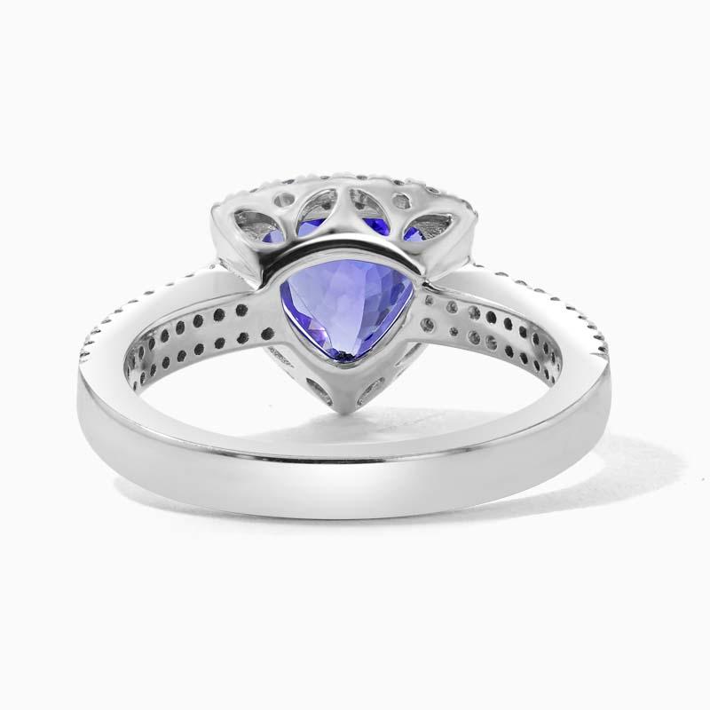 18ct White Gold Trillion Cut Tanzanite Halo & Diamond Dress Ring