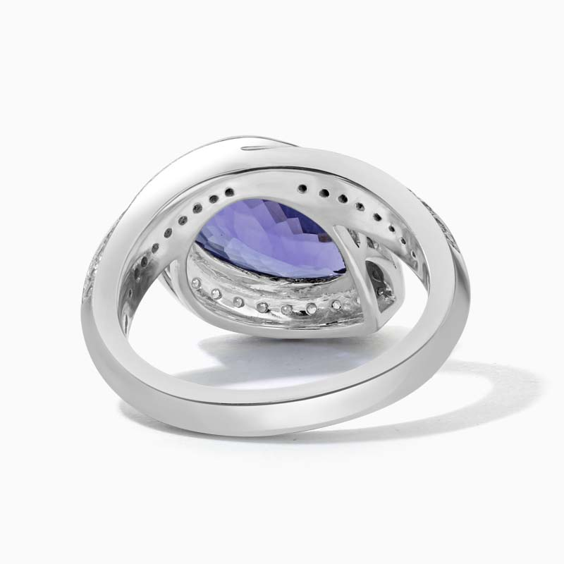 18ct White Gold Pear Shape Tanzanite & Diamond Dress Ring