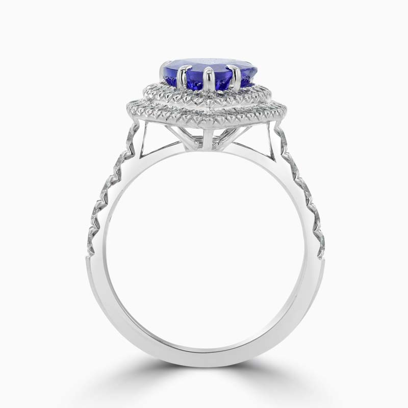 18ct White Gold Pear Shape Tanzanite and Diamond Double Halo Ring