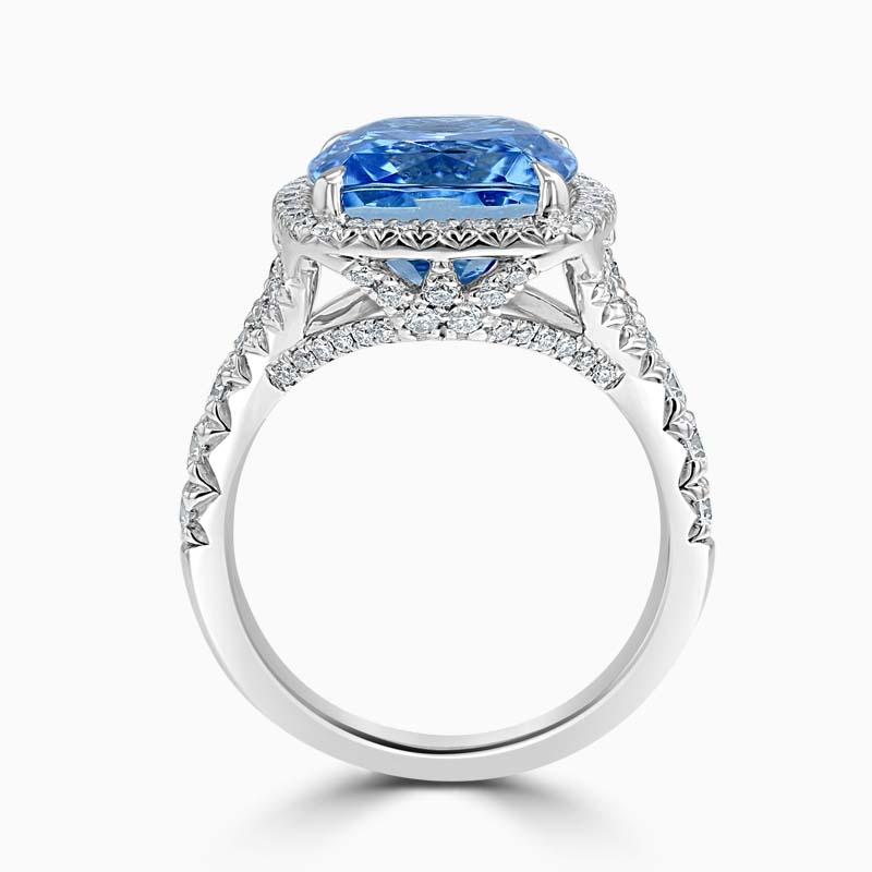 18ct White Gold Cushion Cut Aquamarine & Diamond Set Dress Ring