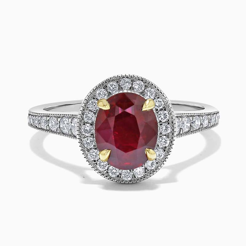 Platinum Oval Ruby & Diamond Halo Ring