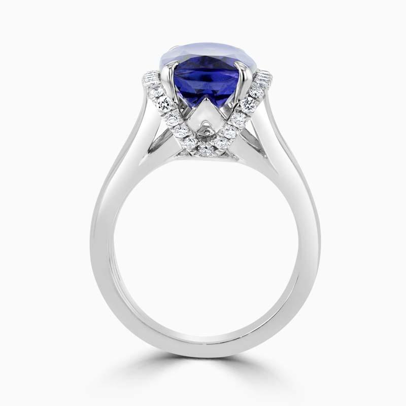 18ct White Gold Rectangular Tanzanite & Diamond Dress Ring