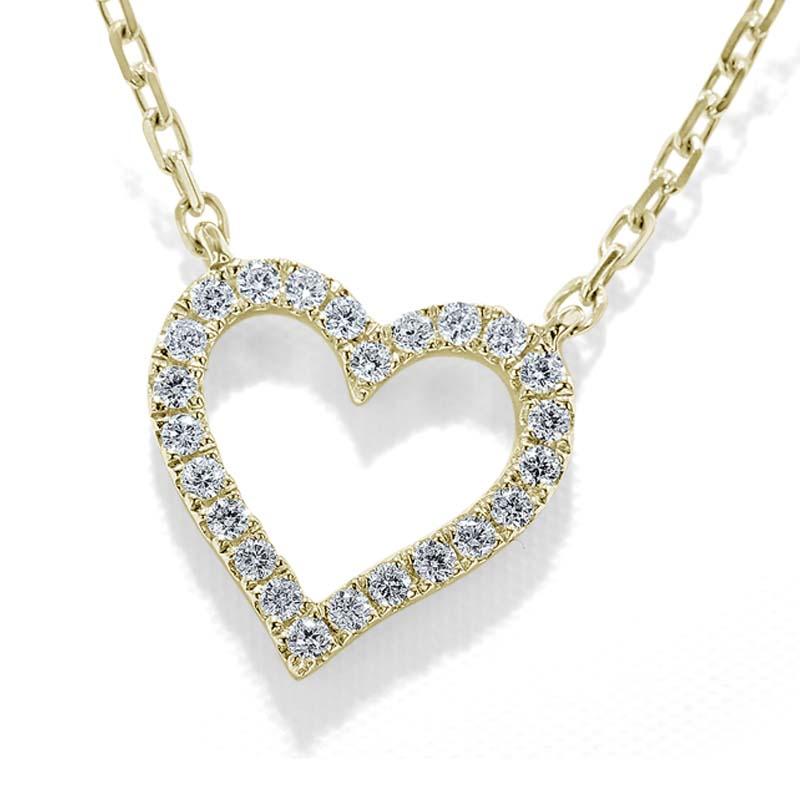18ct Yellow Gold Diamond Set Heart Motif Pendant