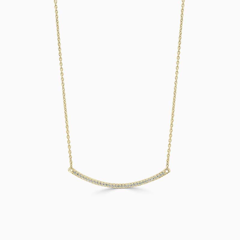 18ct Yellow Gold Curved Bar Diamond Set Pendant